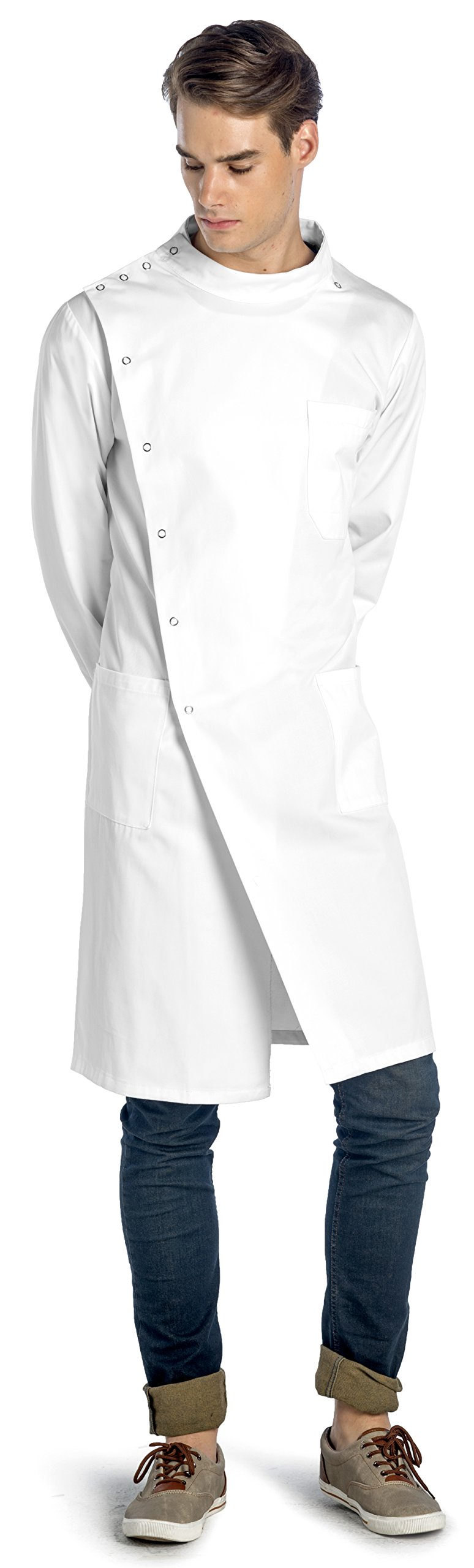 Dr. Howie Unisex White Lab Coat with Mandarin Collar • PROFESSIONAL QUALITY US-06-L