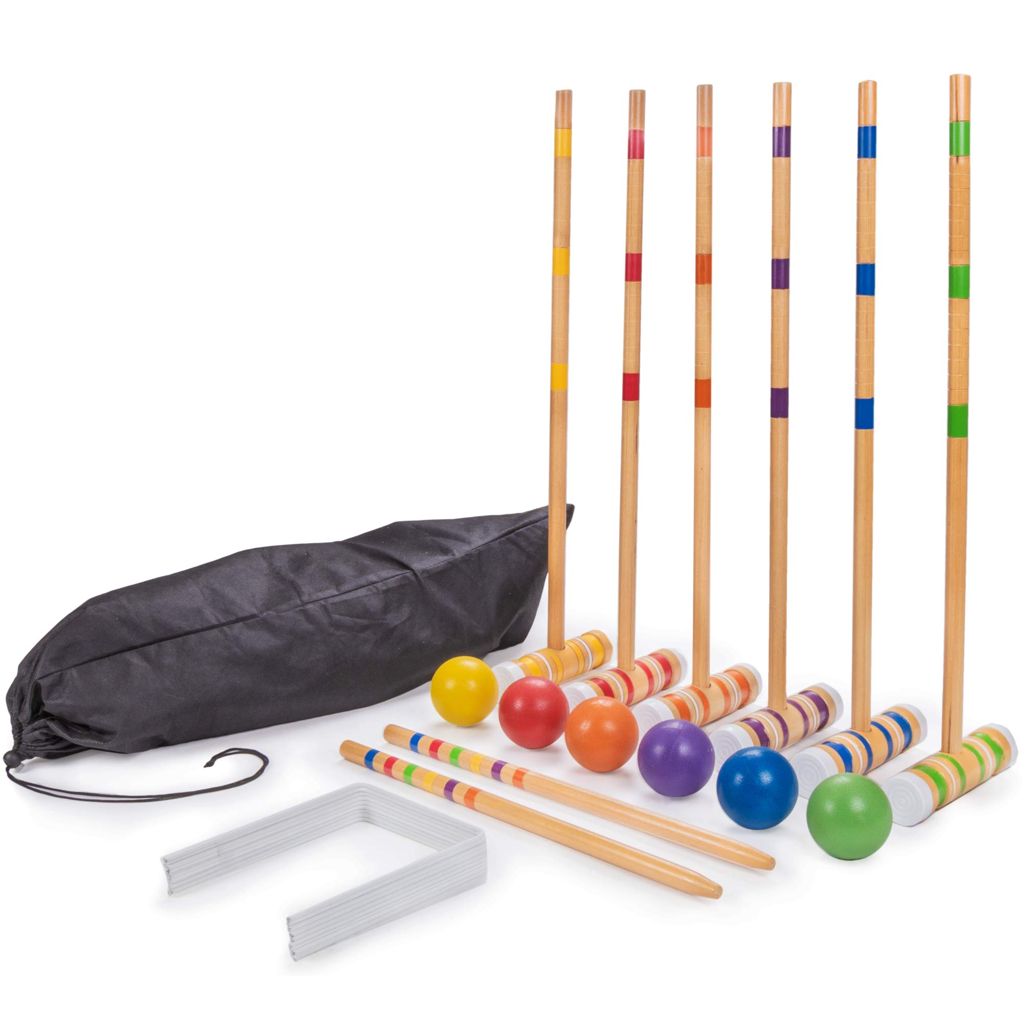 Crown Sporting Goods Six-Player Travel Croquet Set with Drawstring Bag | Family-Sized Set of 6 Wooden Mallets, 6 Colored Balls, 9 Wickets, 2 Stakes | Classic Family Yard, Lawn, Outdoor Games by Crown Sporting Goods