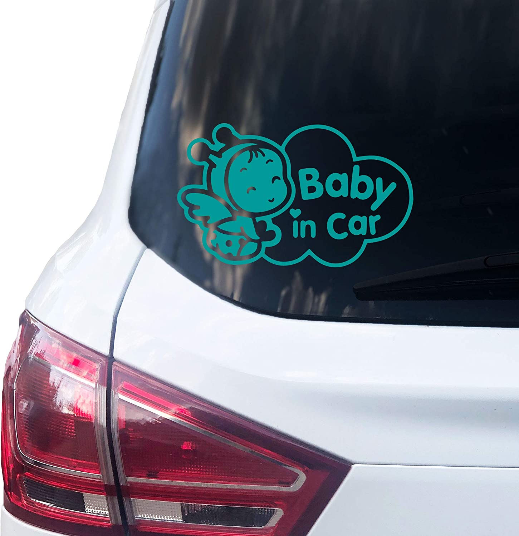 Printattack P003 Baby In Car Aufkleber 16 5cm X 10cm Auto Sticker Babyaufkleber Autoaufkleber Vinyl Türkis Auto
