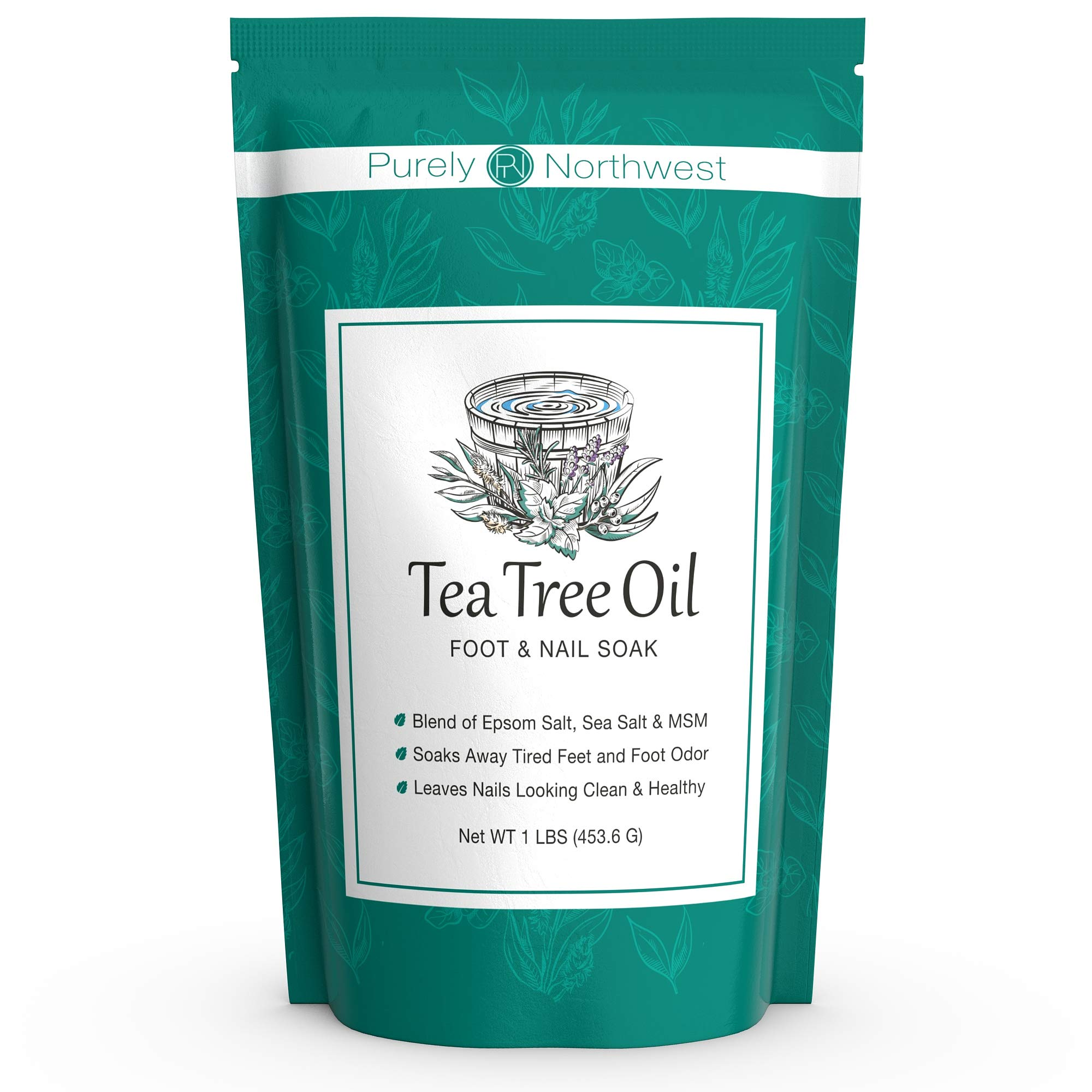Tea Tree Oil Foot Soak with Epsom Salt - Made in USA, Alleviate Toenail Fungus, Athlete's Foot and Stinky Foot Odors. Softens Dry Calloused Heels, Leaving Feet Feeling Soft, Clean and Healthy -16oz by Purely Northwest