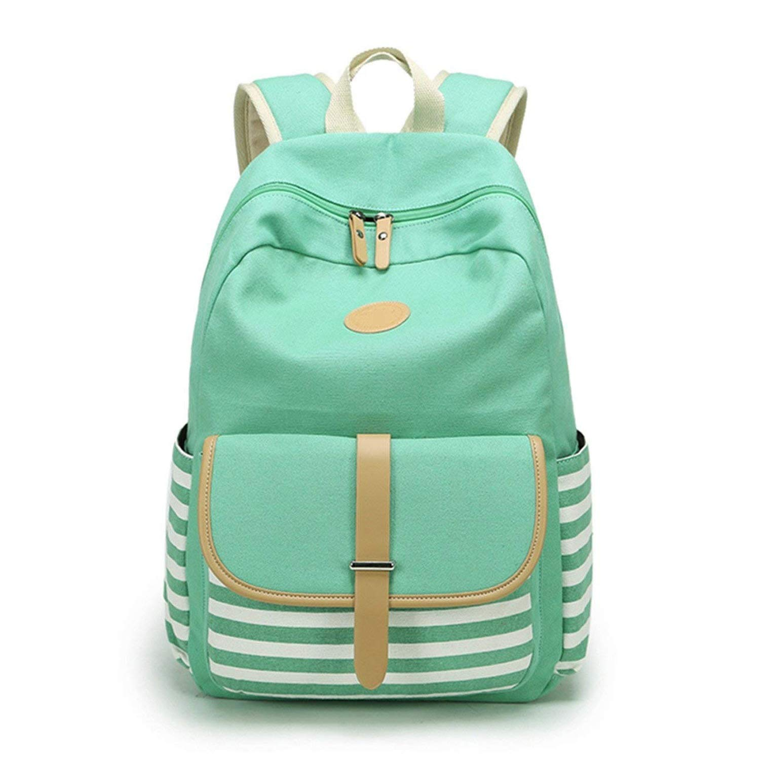 A 1417.15.4 inches BackpackStriped Student Backpack LargeCapacity Leisure Travel Canvas Bag (Black and Green) (color   A, Size   14  17.1  5.4 inches)