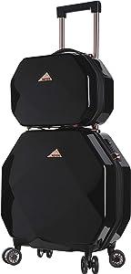 kensie 3D Gemstone TSA Lock Spinner Hardside Luggage and Tote, Black Option