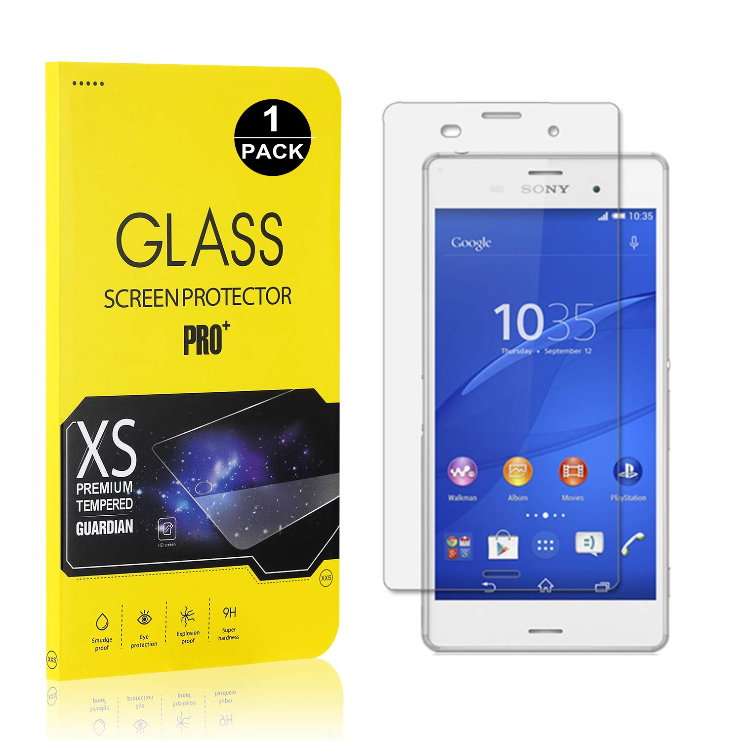 UNEXTATI Anti Scratch Tempered Glass Screen Protector Film for Sony Xperia Z3 1 Pack Screen Protector Compatible with Xperia Z3