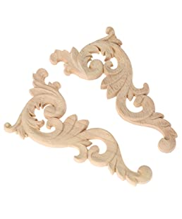 SODIAL(R) 2pcs Wood Carved Corner Onlay Unpainted Applique Frame Door Decors Decal 15*8*0.8cm