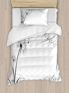 Ambesonne Music Duvet Cover Set, Flying Dandelions with Notes Music Summer Spring Meadow Silhouette Softness Simple, Decorative 2 Piece Bedding Set with 1 Pillow Sham, Twin Size, Black and White