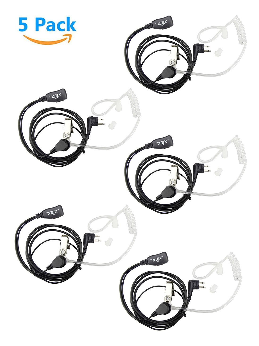 XFox 5Pack FBI Style 2Pin Covert Acoustic Tube Earpiece PTT Headset Compatible with Motorola 2 Ways Radio GP88S GP300 GP68 GP2000 GP88 GP3188 CP040 CP1200 A8 A6 A10 A12 etc by XFOX