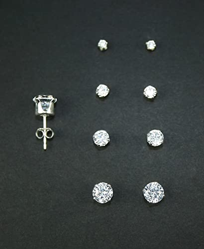 pin quality prong high princess setting white earring on gold stud diamond cut set simulated