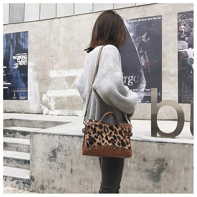 d0339384a1 RFVBNM Sac à Main en Fourrure à la Mode féminine rétro léopard Tatouage  bandoulière Sac à bandoulière Cent Rivets Sac à bandoulière, Brun:  Amazon.fr: ...
