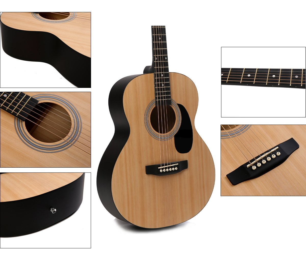 Acoustic Guitar Music Full Size Guitar Starter Kit Dreadnought Beginner Package - Matte Natural by IMusic (Image #5)