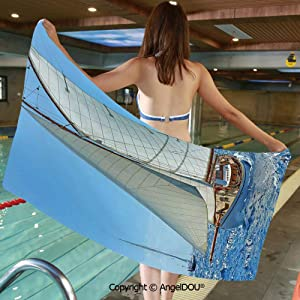 YOLIYANA Large Gym Sport Swimming Pool Towel Sailboat on The Sea Regatta Race Yacht and Windy Weather Competition Theme Microfiber Beach Towel Women Men.W27.5xL55(inch)