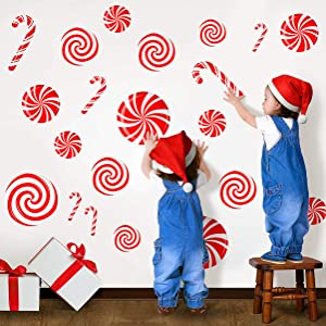 CIOEY Peppermint Floor Decals 24 Pieces Large Stickers for Christmas Candy Land Party Decorations, Store Decor Floor Windows Walls Winter Holiday Decoration Supplies, Red and White