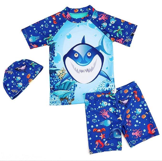 2b11865d3 Happy childhood Baby Boys Set With Short Sleeve Rashguard Swim Shirt Shark  Pattern Swimwear Three Piece