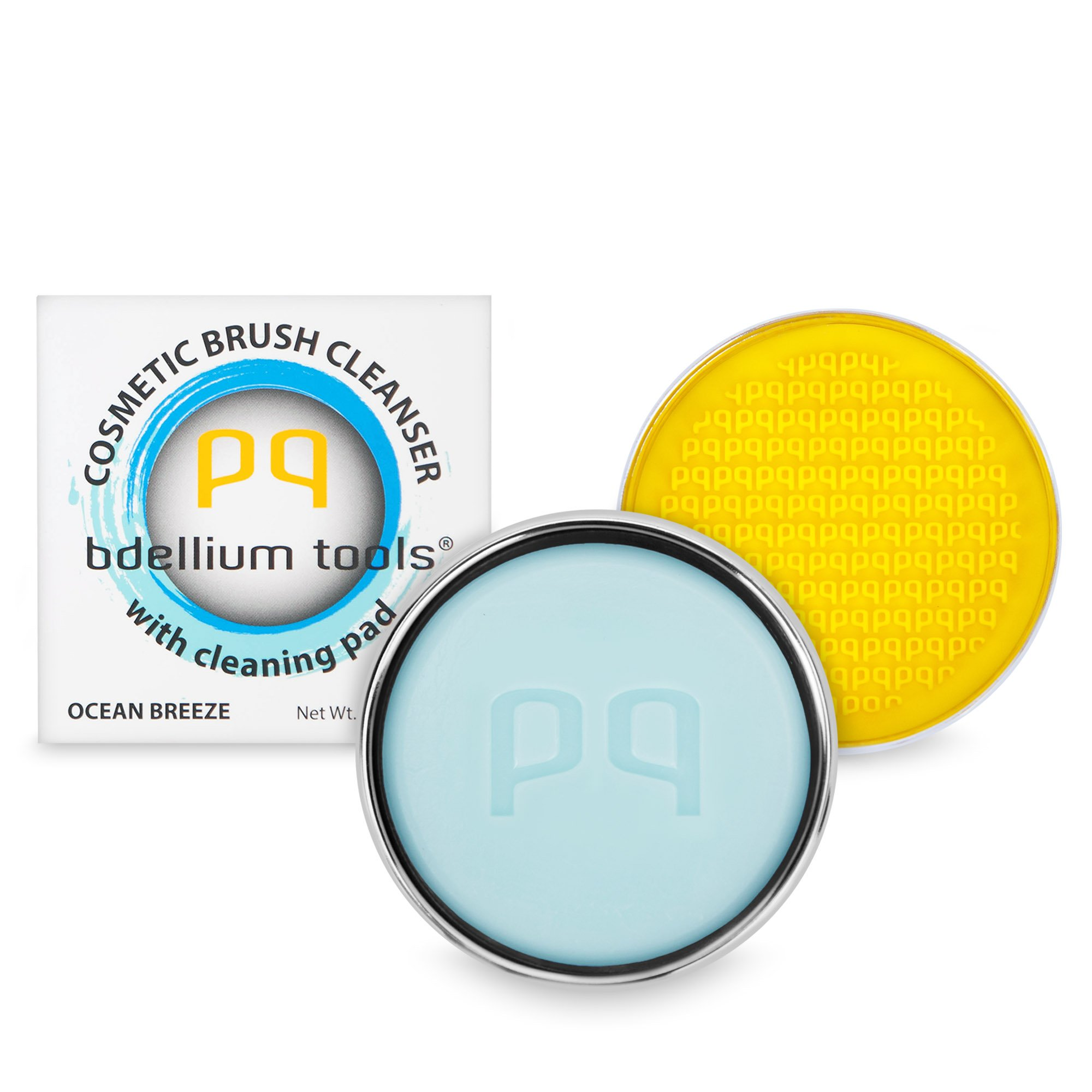 Bdellium Tools Cosmetic Brush Cleanser (Solid Brush Soap) with Cleaning Pad - Ocean Breeze Scent (Blue)