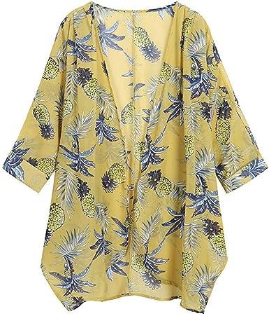 Reooly Mujeres Ocasionales de la impresión Floral de Manga Larga de Gasa Suelta Cardigan Kimono Tapas de la Blusa: Amazon.es: Ropa y accesorios
