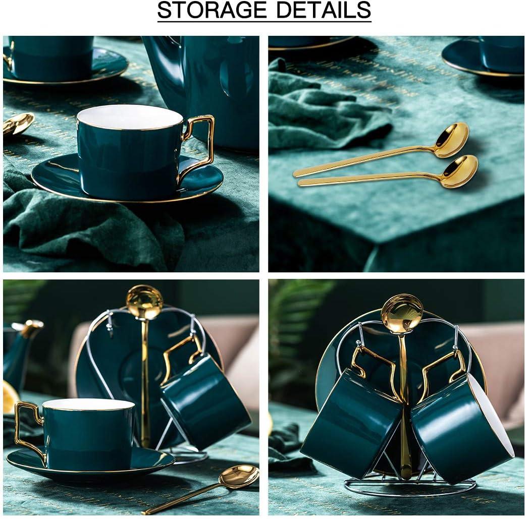 YOLIFE Tasse Untertassen Set Porzellan Teetasse Set Kaffeetasse Untertasse Set 8 oz Porzellan Teetasse mit St/änder Green Pack of 6