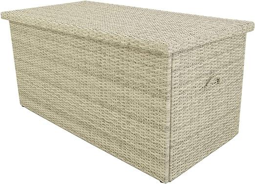 Baúl para Exterior, Tamaño: 132x68x62 cm, Aluminio y rattán ...