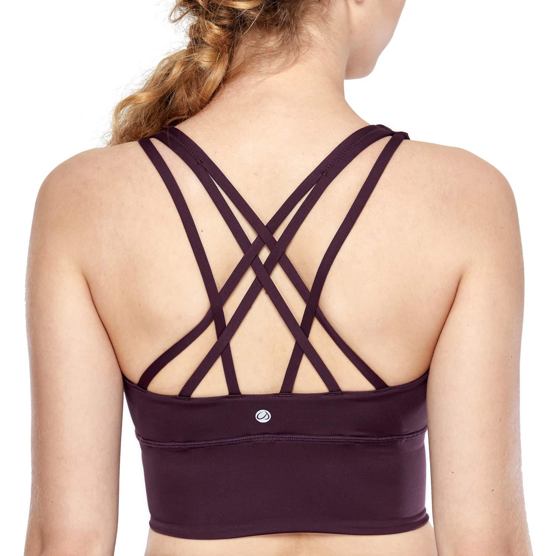 CRZ YOGA Strappy Sports Bras for Women Longline Wirefree Padded Medium Support Yoga Bra Top Dark Violet XL by CRZ YOGA
