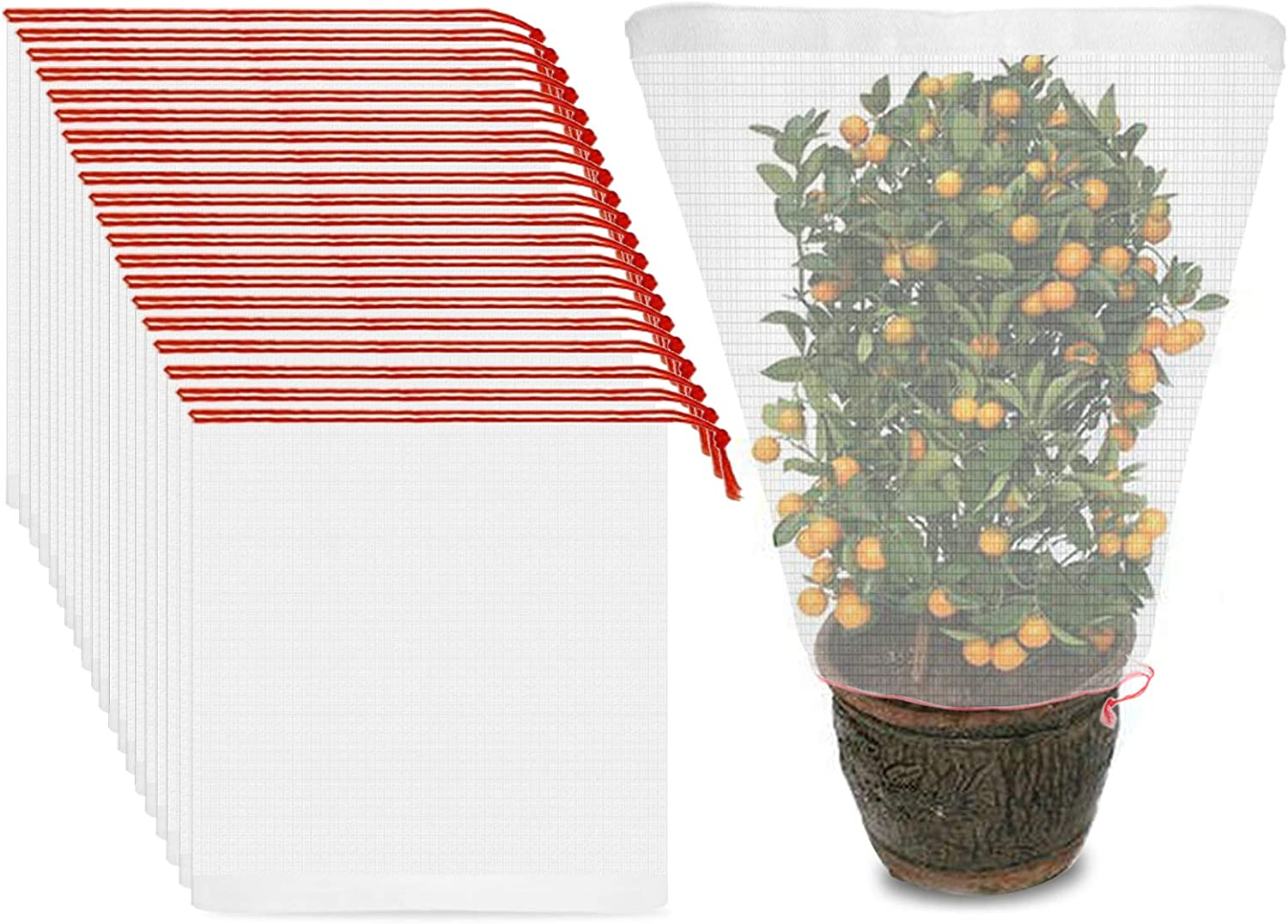 ENPOINT 20PCS Tomato Plant Netting Mesh, 37 x 23 inch Tree Bird Net for Bananas, Reusable Insect Mesh with Drawstring, Garden Plant Protective Cover Tomato Barrier Bag for Vegetables Fruits Flower