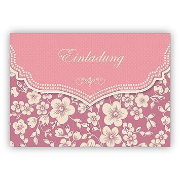 Wunderbare Vintage Einladungskarte Mit Retro Kirschblüten Muster In Rosa  Zur Hochzeit, Taufe, Diner Etc