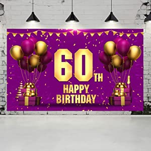 Ushinemi 60th Birthday Banner Happy 60th Birthday Backdrop 60 Decorations for Her Women, 6x3.6 Feet, Gold and Purple