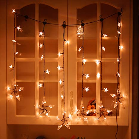 DIKLA Window Curtain String Lights For Bedroom With Hook Indoor Led String  Lights For Party Dancing