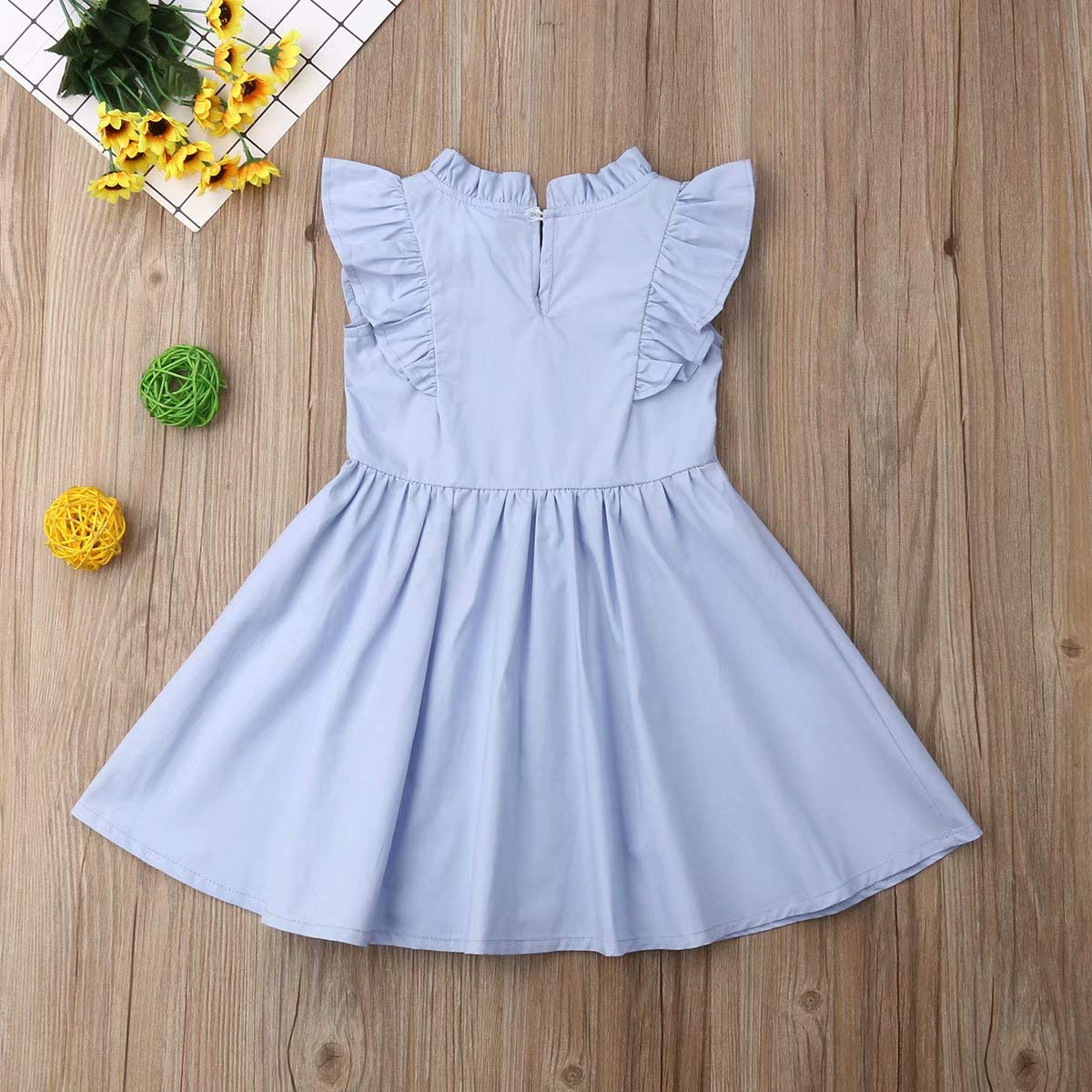 Bowanadacles Kids Infant Baby Girls Sleeveless Ruffled Sleeve Solid Color Princess Tutu Party Dress Summer Clothes