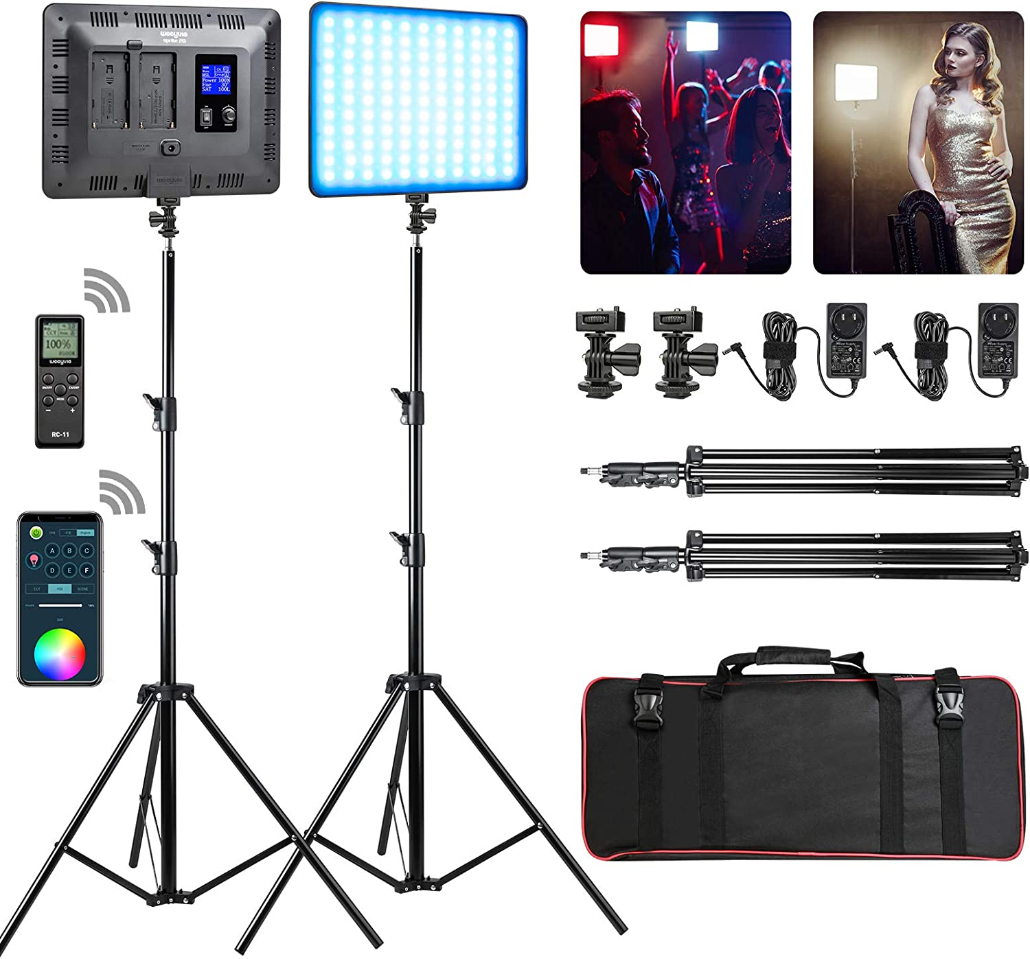 RGB LED Video Light, Photography Video Lighting kit with APP/Remote Control, 2 Packs Led Panel Light with Stand for Video Recording YouTube Studio CRI 95/ 2500K-8500K/ RGB Colors/ 17 Scenes