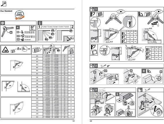cerniera piatta DOPPIO Premium klappen-halter SUPPORTO PIEGHEVOLE PER LEGNO /& CORNICE IN ALLUMINIO klappenh/öhe 200-500 mm acciaio nichelato Set completo maniglie mobili von GedoTec