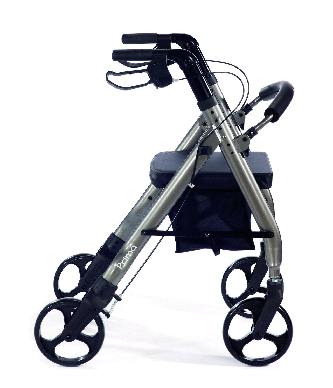 Comodita Prima Heavy-Duty Rolling Walker Rollator with Nylon Seat, Metallic Graphite
