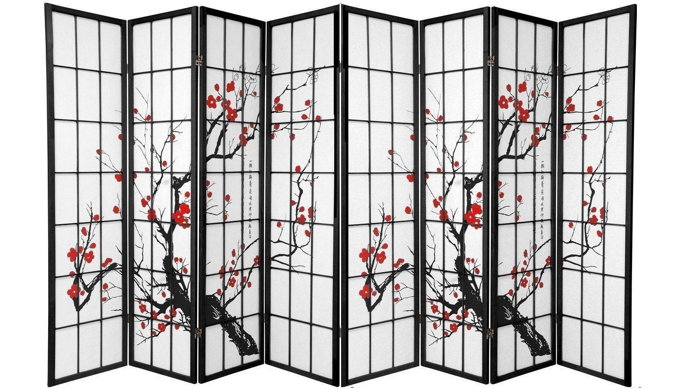 SQUARE FURNITURE Screen 8 Panel Black Plum Blossom Design Room Divider (8-Panel) by SQUARE FURNITURE