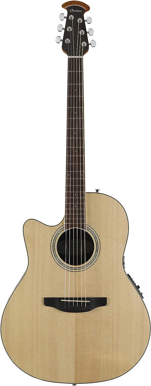 Ovation Celebrity Collection - Guitarra acústica eléctrica de 6 cuerdas, izquierda, natural, cuerpo de profundidad media (CS24L-4)
