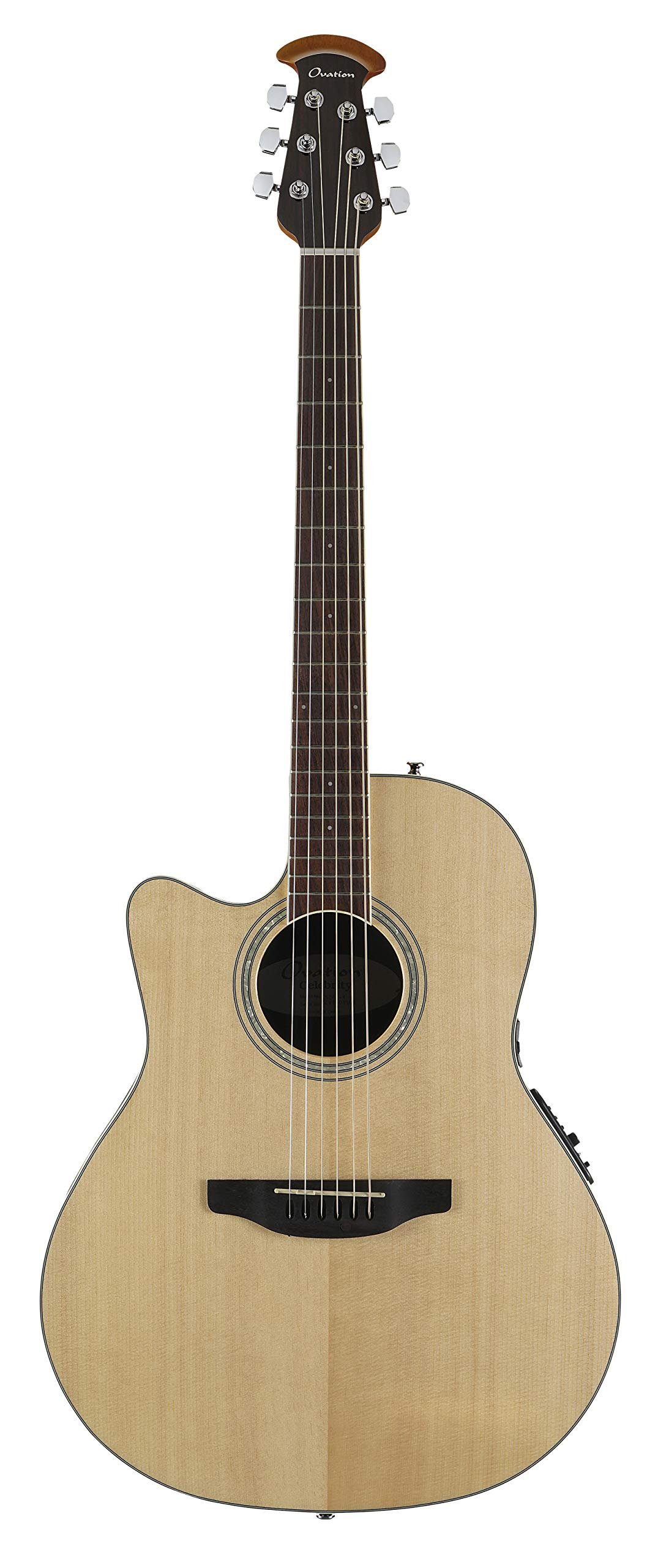 Ovation Celebrity Collection 6 String Acoustic-Electric Guitar, Left, Natural, Mid Depth Body (CS24L-4) by Ovation