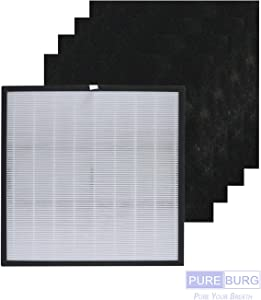 PUREBURG Replacement 1 HEPA Filter + 4 Carbon Pre-Filters Compatible with Whirlpool Whispure 1183050K+8171510K(8171510) Fits Whispure Pro 2000 WPPRO2000 Series WPPRO2000M WPPRO2000P WPPRO2000B