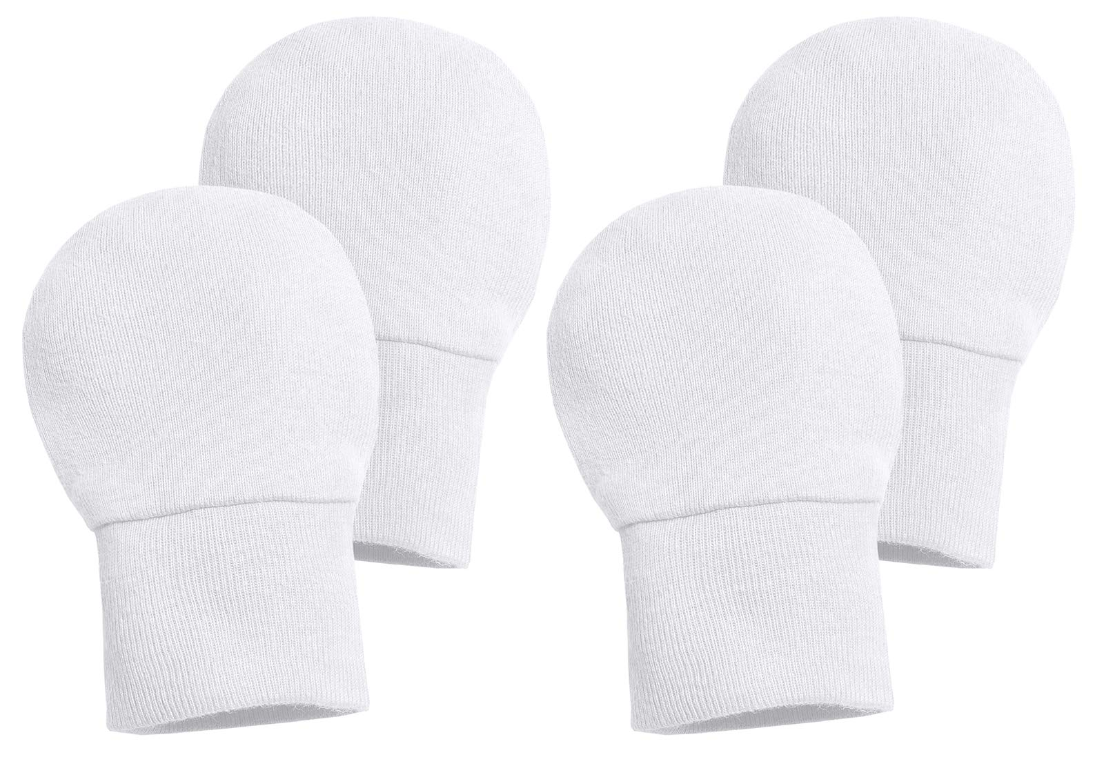 City Threads Newborn Cotton Gloves - No Scratch Mittens Safe Baby Boys Girls Teething Chemical Free, White/White, 0/3M by City Threads