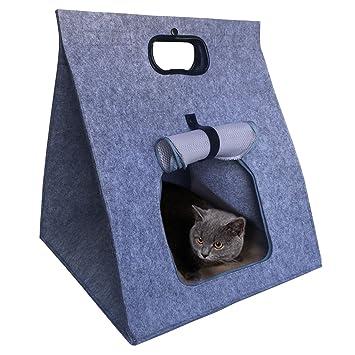 Bolsa de Transporte Transportín Plegable Gatos Cama Casa Jaula para Mascotas Perros Pequeños Suave Calentar Lavable