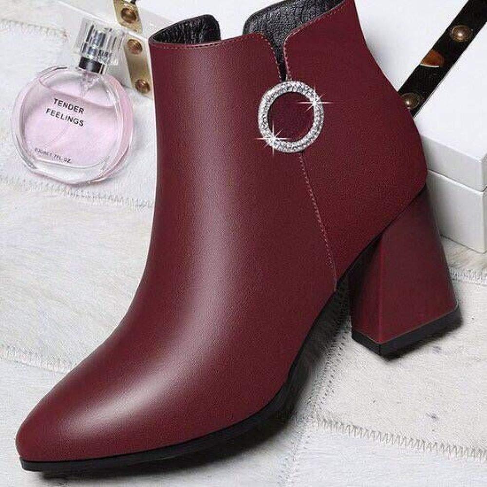 Eeayyygch Wild Thick mit Frühling und Herbst Schuhe Schuhe Schuhe Damen Ankle Stiefel Kinder Herbst Schuhe Frauen, verfolgt 7cm koreanische Mode (Farbe   Weinrot, Größe   37) 9463b8