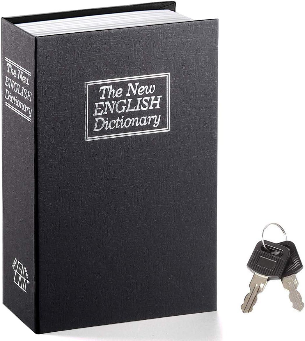 Book Safe with Key Lock – Jssmst Home Dictionary Diversion Safe Lock Box Safe Metal Box, Black Large, SM-BS004BL