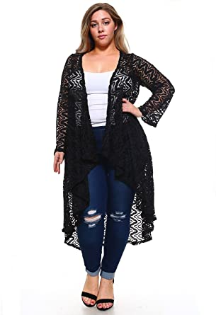 07059cc705 Popular Women's Plus Size Long Lace Open Front Cardigan at Amazon Women's  Clothing store: