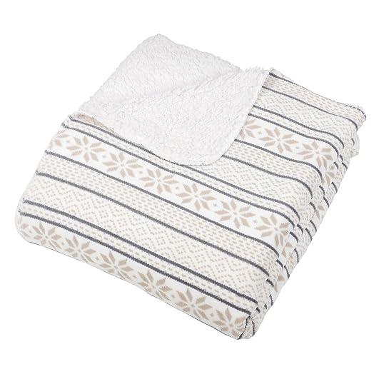 White / Natural Fairisle Fleece Blanket Soft Sherpa Sofa Bed Throw ...