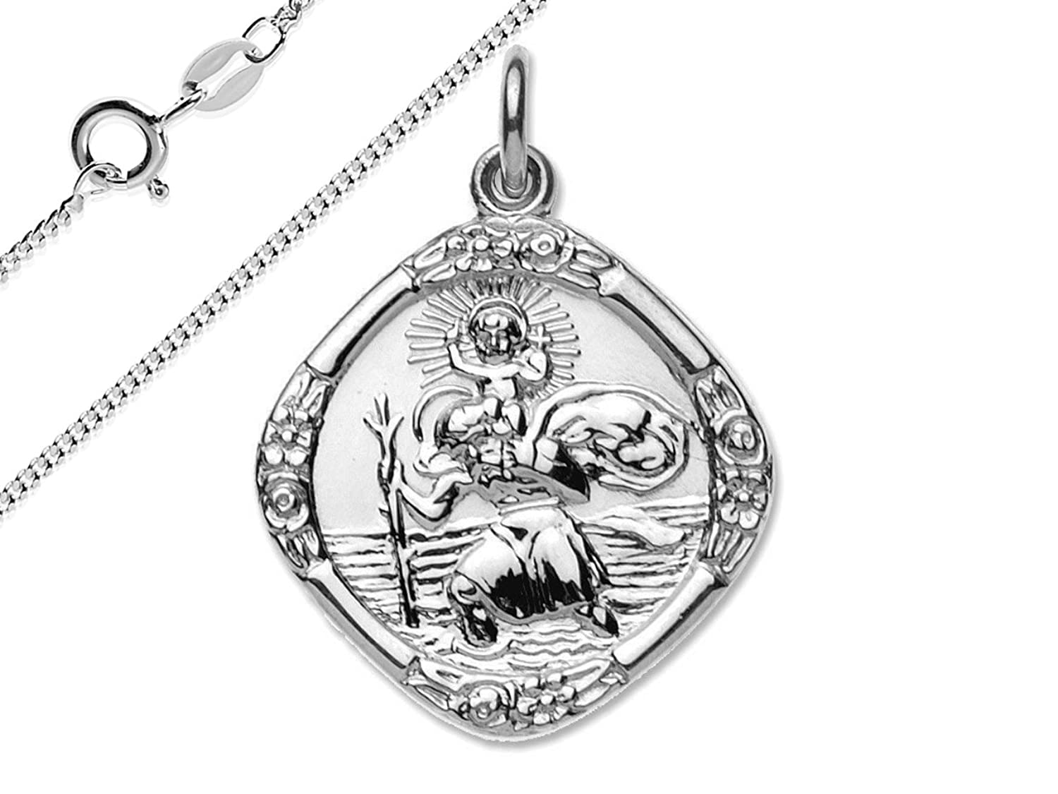 Solid 925 sterling silver double sided st christopher medal pendant solid 925 sterling silver double sided st christopher medal pendant with a 1845cm sterling silver curb necklace amazon jewellery aloadofball Images