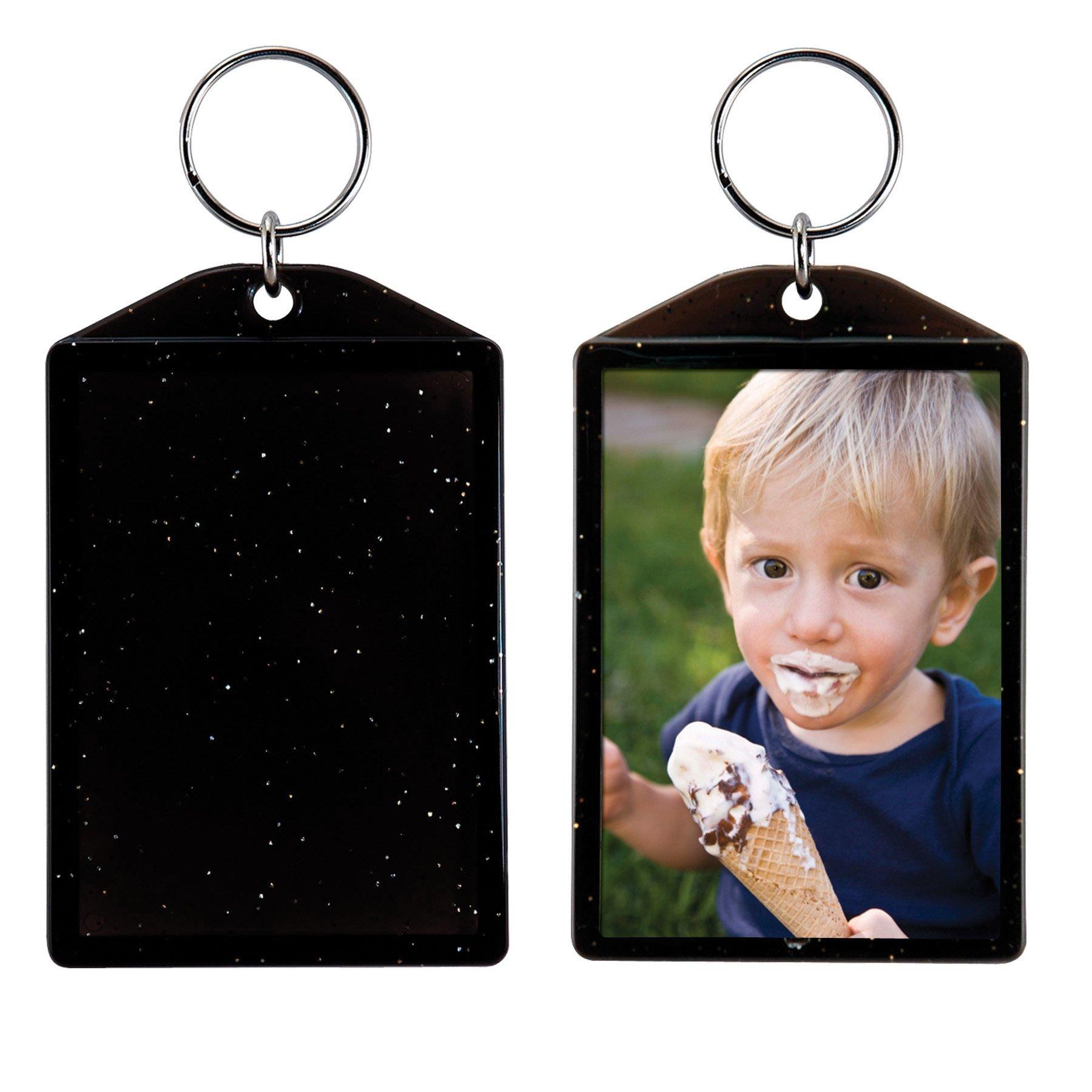 Translucent Sparkle Photo Keychain - 24 Pack (Black)