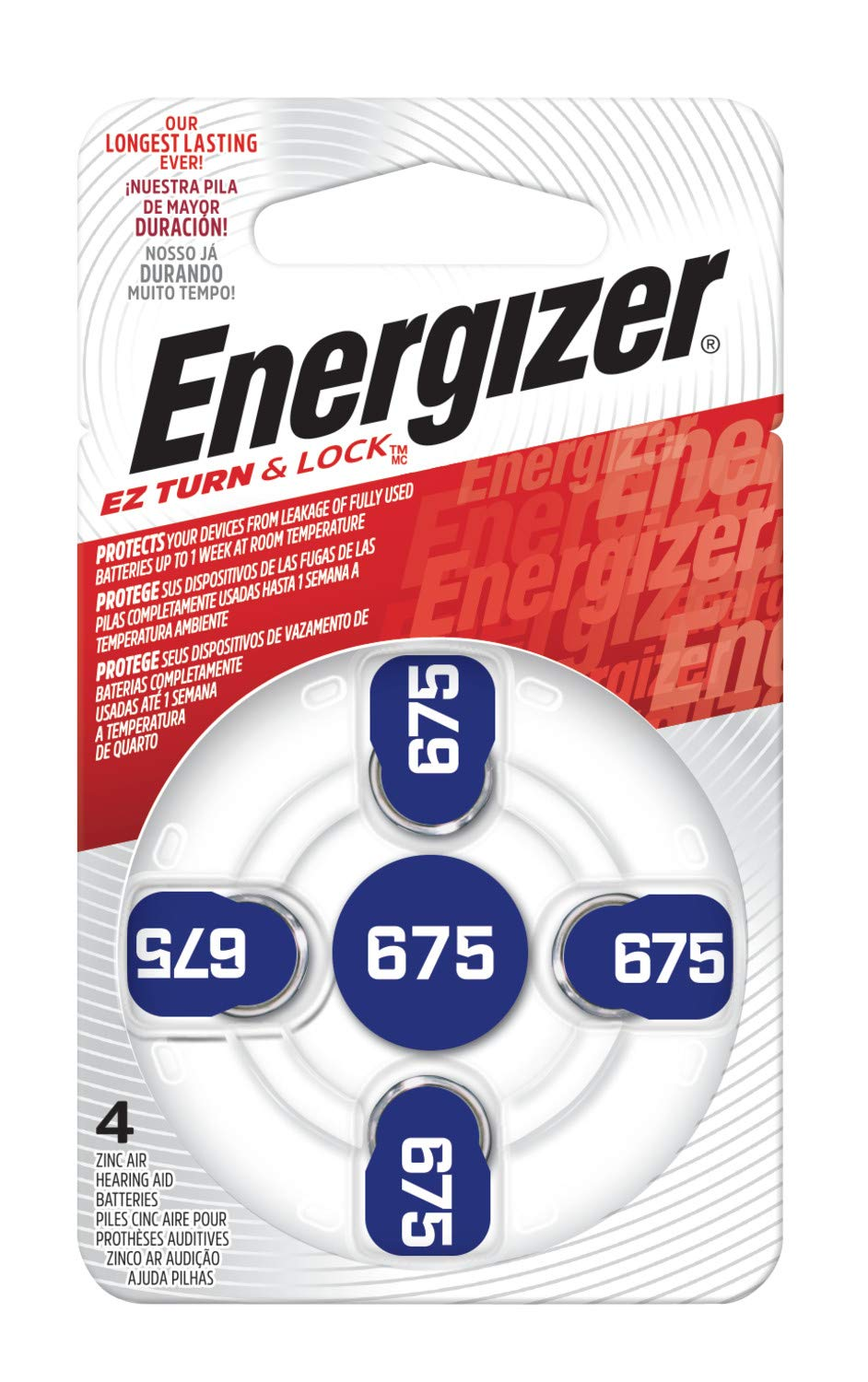 Energizer EZ Turn & Lock 675 Hearing Aid Battery, 96-Count by Energizer