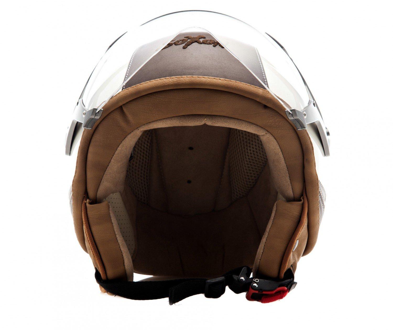 57-58cm M SOXON SP-325-URBAN Bobber Casco Demi-Jet Vespa Vintage Piloto Cruiser Rojo//Marr/ón
