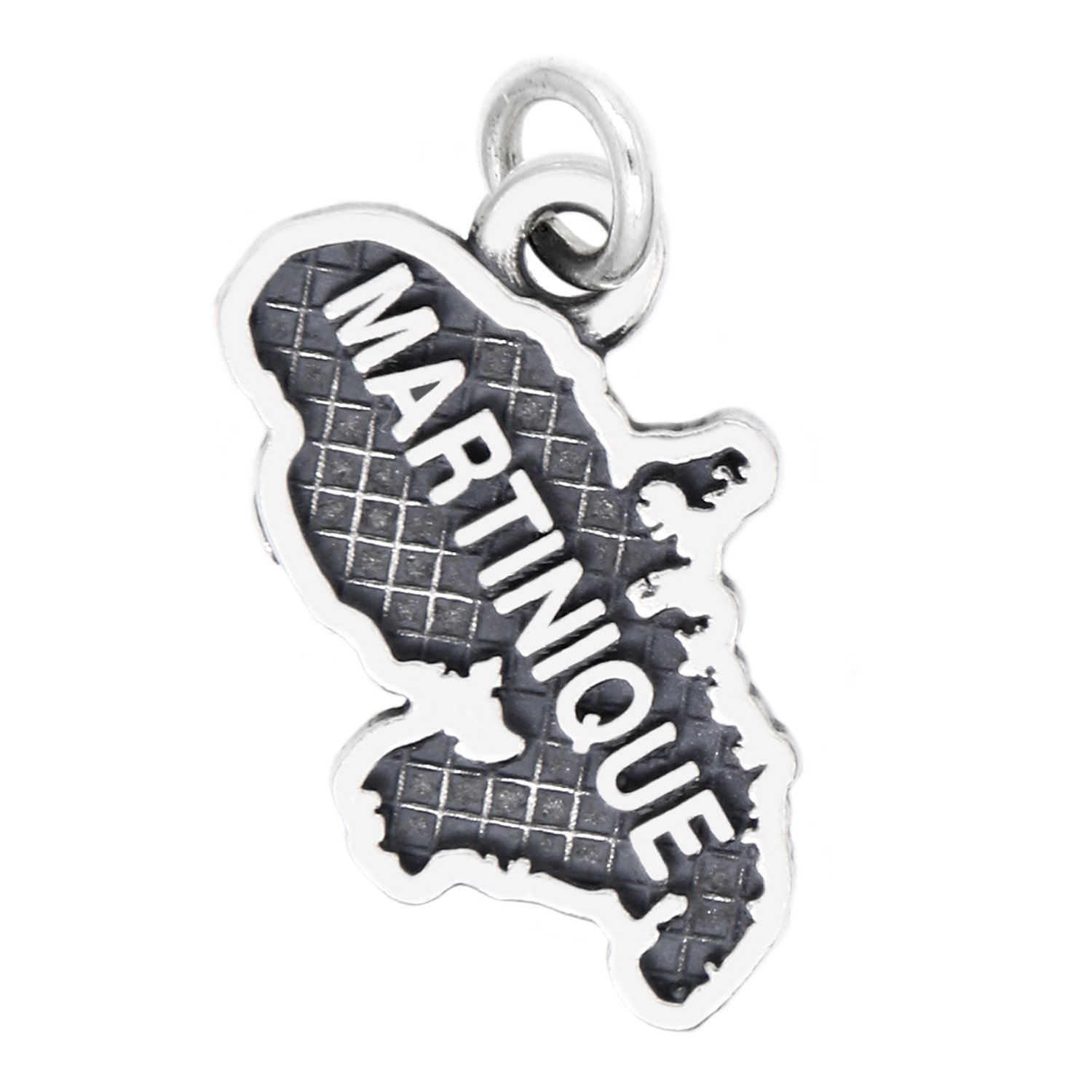 Sterling Silver Oxidized Travel Map of Martinique Charm