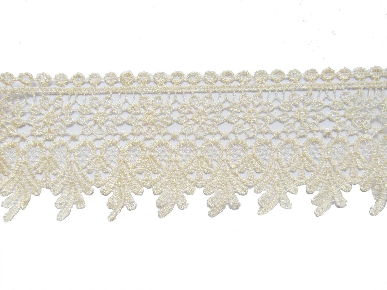 YYCRAFT 5 Yards Cream Lace Edge Trim Wedding Applique DIY Sewing Crafts Width:3.5,Cream