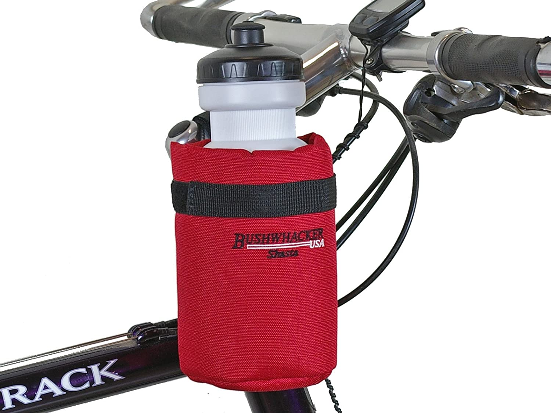 Bushwhacker Shasta Red – Insulated Bike Water Bottle Holder w 20 oz. Bottle – Two Point Bike Frame Handlebar Attachment w Belt Loop