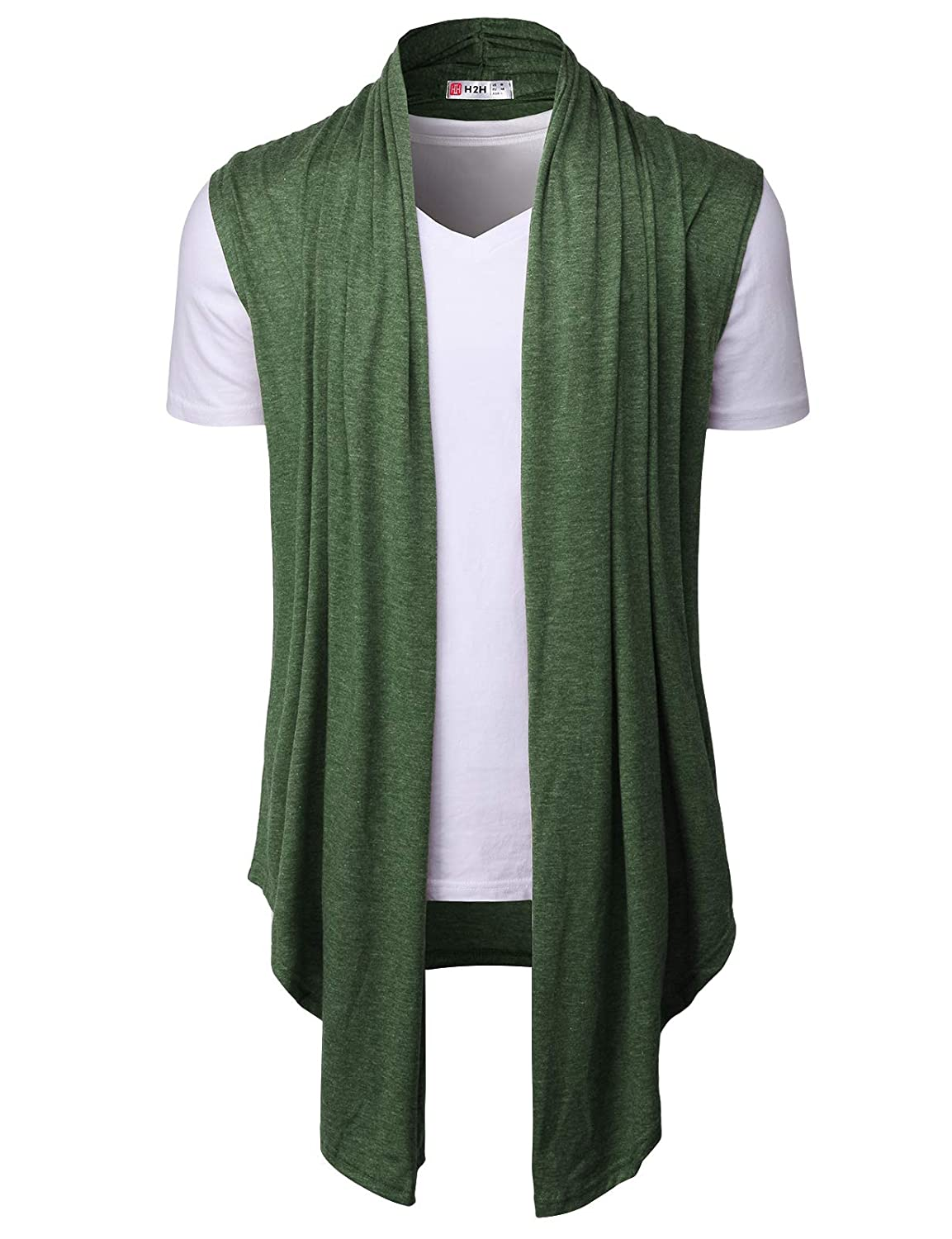 H2H Mens Casual Shawl Collar Cardigan Sleeveless Sweaters with No Button