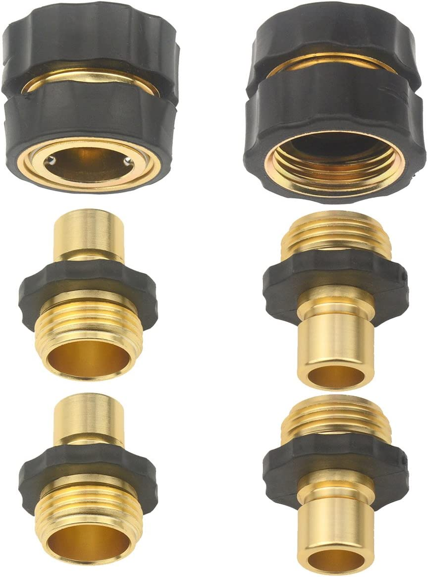 Set of 6 Aluminum Garden Hose Quick Connector - Water Hoses Quik Connect Release