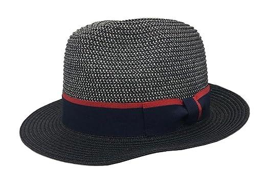 c8b80439e251e MAZ Unisex Grey Black Crushable Straw Summer Pork Pie Trilby Hat With Black  Band  Amazon.co.uk  Clothing