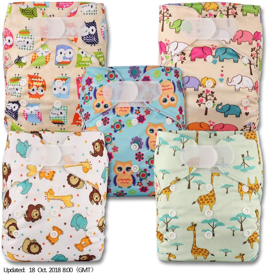 Littles /& Bloomz Reusable Pocket Cloth Nappy Fastener: Hook-Loop Without Insert Patterns 506 Set of 5